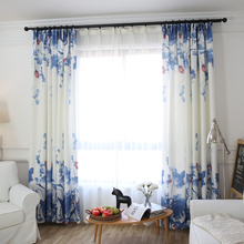 (1 шт.) Китайский синий и белый картины шторы панели, # LR-moyun Натурального льна готовые кухня шторы спальни шторы