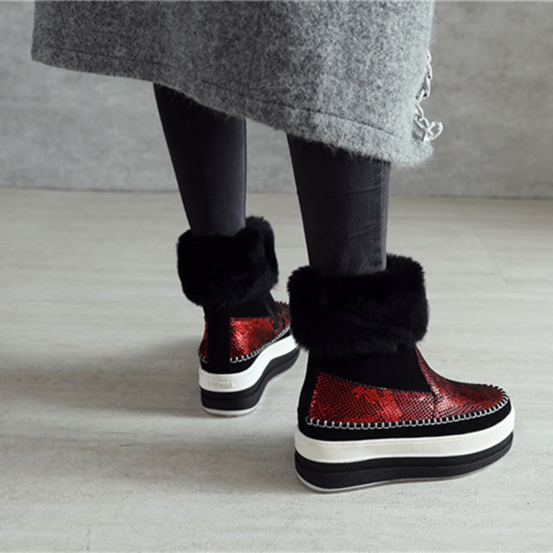 Noir Talons Chaude Martin De Fedonas Bottes Chelsea Bottines Mode Compensées Bout Neige Automne Femme rouge Femmes Chaussures Rond Hiver gqawTfY