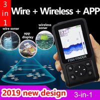 PDDHKK Wire+ Wireless+App 3 in 1 Sonar Fish Finder 105 degree Detection Angle Wireless Sonar 300m to 50m Rechargeable battery