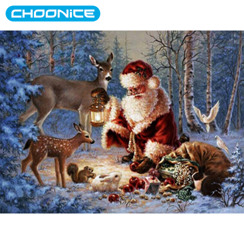 Diamond Painting Full Square Christmas Animal DIY 3D Diamond Embroidery Pokemon Santa Claus Presents Gifts Fruit Food Forest