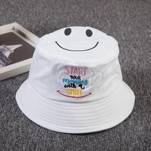 09d153bd02916c Bucket Cap Woman New Fashion Letter Printing Smiling Face Fishing Bucket  Hats Summer Sunscreen Sun Hat