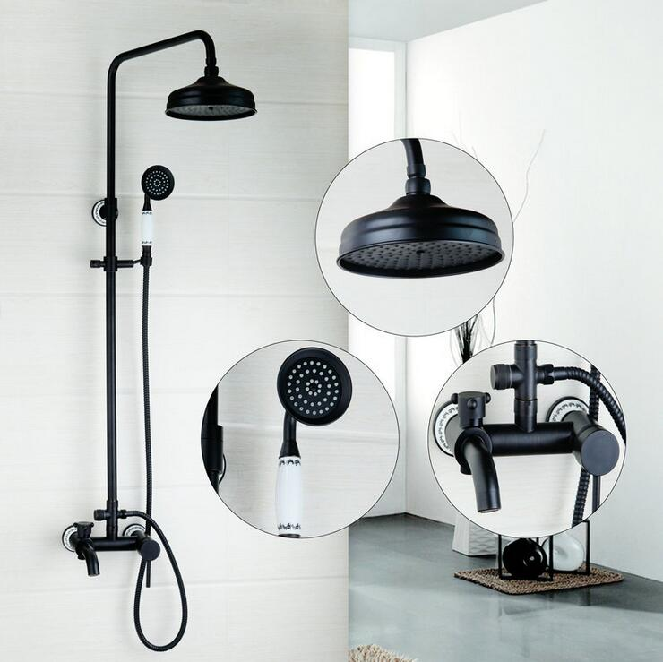 Bathroom wall mount shower faucet black, Oil Rubbed Bronze shower faucet set shower head, Antique rain bath and shower faucet