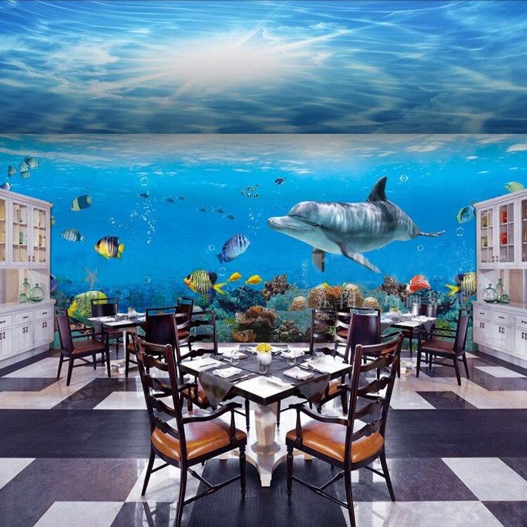 Underwater World Dolphin Fish Cartoon Diy Wall Wallpaper