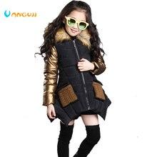 4 13 anos de idade meninas casaco de inverno das crianças para baixo jaqueta com capuz gola de pele costura crianças outerwear grosso quente parkas moda