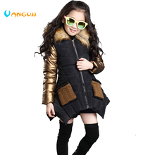 4 13 years old girls winter coat childrens down jacket hooded Fur collar stitching kids Outerwear thick warm parkas fashion