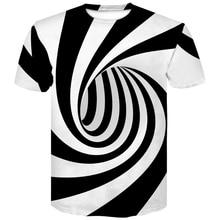 Fashion 3D Print Black White Vertigo Hypnotic funny tshirt short sleeve t-shirt casual summer  paisley Mens Women Big Size top