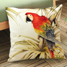 parrot animal print home decorative sofa throw pillow covers cotton linen outdoor patio bench cushion cover