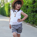 2015 summer new 100% cotton lace bow style vest + shorts 2 pcs baby clothes 0-3 years baby girls clothes set
