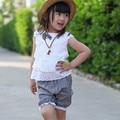 2015 verano nuevo encaje de algodón 100% arco estilo chaleco + pantalones cortos 2 unids ropa de bebé 0-3 años de los bebés ropa conjunto