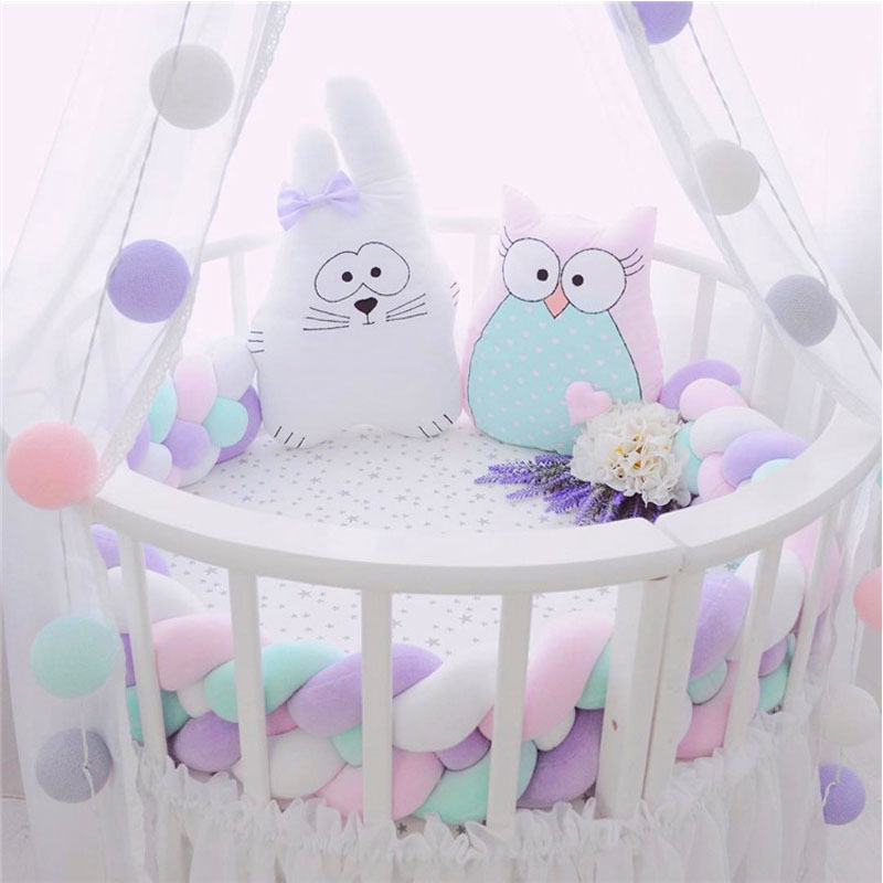 2M3M 4 Knot Soft Baby Bed Bumper Crib Sides 4 Braid 2 Meter Newborn Crib Pad Protection Cot Bumpers Bedding for Infant2M3M 4 Knot Soft Baby Bed Bumper Crib Sides 4 Braid 2 Meter Newborn Crib Pad Protection Cot Bumpers Bedding for Infant