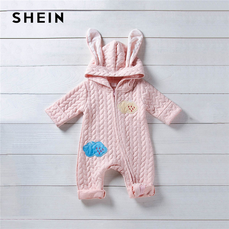 SHEIN Pink Toddler Girls Patched Cartoon Warm Infant Hooded Jumpsuit Without Bag 2019 Spring Fashion Long Newborn Baby Clothes hzirip baby romper new autumn winter warm lovely cartoon cotton thick baby girls boys jumpsuit fashion newborn clothes 5colors