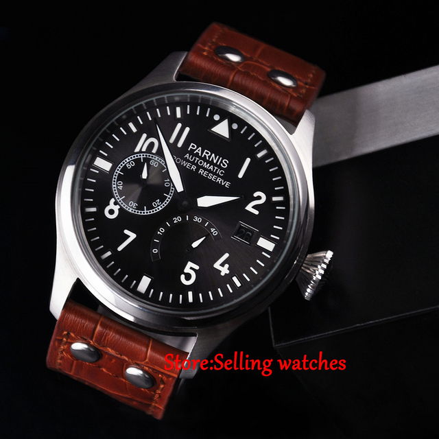 47mm parnis gray dial power reserve automatic mens Luxury watch
