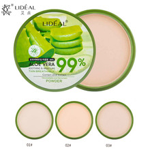 LIDEAL Natural Aloe Vera Pressed Powder LongLasting Face Compact Powder Makeup Moisturizer Whitening Smooth Foundation Concealer