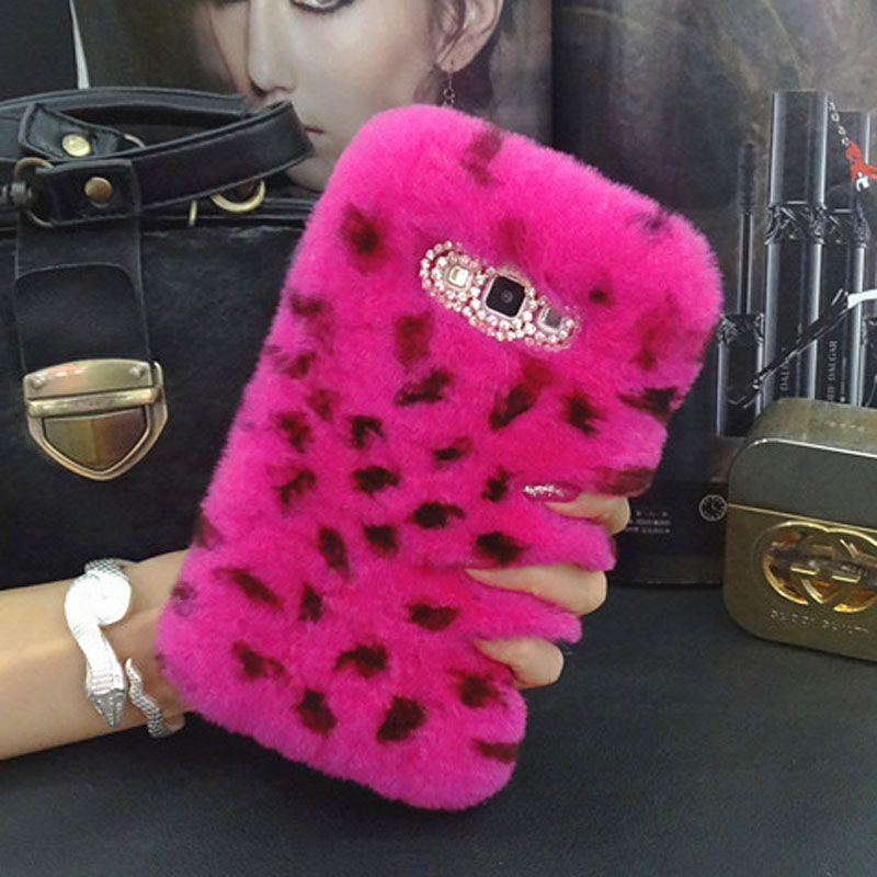 imágenes para Genuine real rex rabbit fur cabello diamond fundas coque case para samsung galaxy s8 más j2 j5 j7 primer s7 s6 edge plus s4 s5 capa