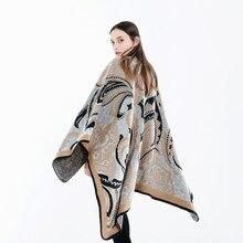 חדש אופנה לאומי סגנון טמפרמנט צעיף נשים החורף עבה גדול חם באיכות גבוהה נוח רך windproof חיצוני פונצ ו