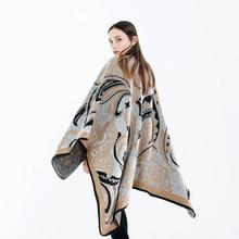 Nova moda estilo nacional temperamento xale feminino inverno grosso grande quente de alta qualidade confortável macio à prova vento ao ar livre poncho
