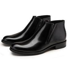 Large size EUR45 Black brown warm wool lining winter mens ankle boots genuine leather dress shoes