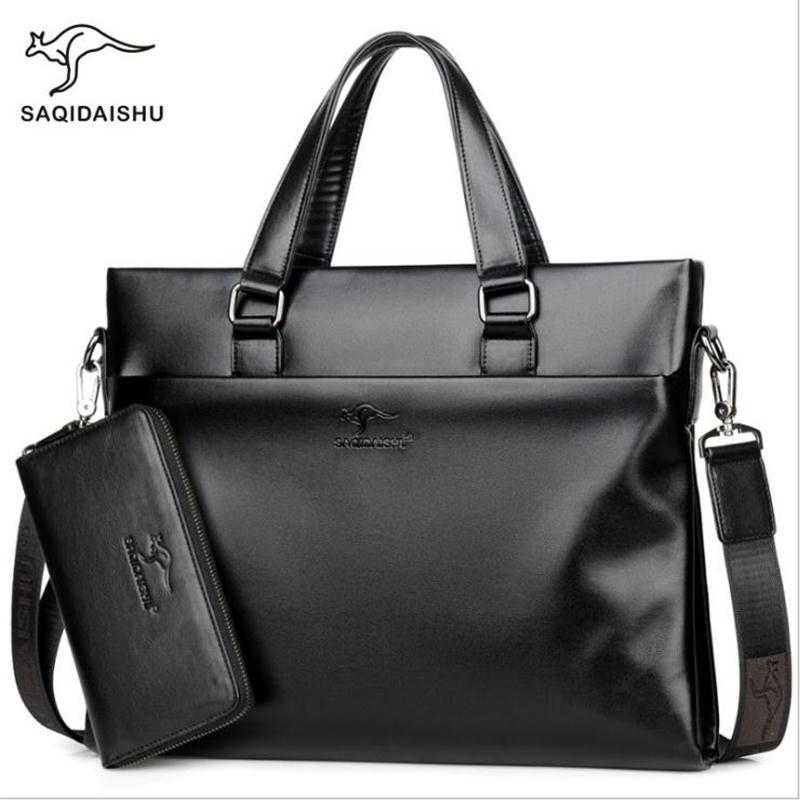 New Men Briefcases Leisure Business Bag Document Quality Pu Formal Work Bags Large Capacity Handbag Male Messenger Handbags