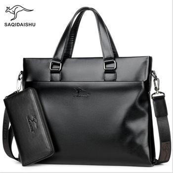 new Men briefcases leisure business Bag document quality PU formal work bags  large capacity handbag Male Messenger handbags