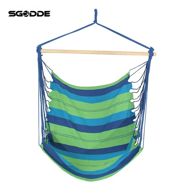 SGODDE Blue Hanging Rope Swing Chair Seat Hammock With 2 Mats Outdoor  Garden Camping Adult Child