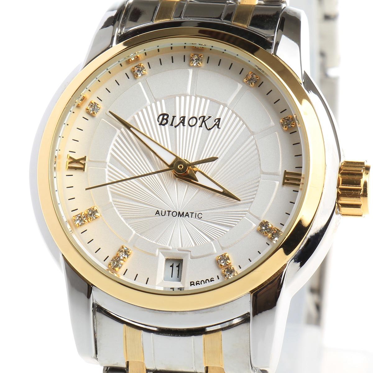 BIAOKA Brand New Fashion Gold Watch Stylish Steel Women Clock Classic Mechanical Dress Skeleton Waterproof Watch Reloj Mujer