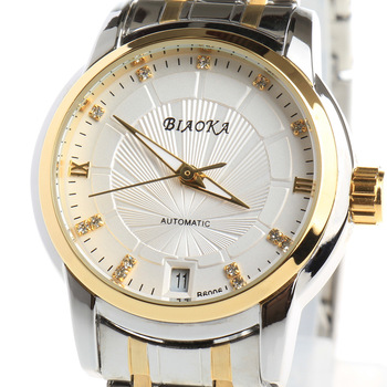 BIAOKA Brand New Fashion Gold Watch Stylish Steel women Clock Classic Mechanical Dress Skeleton Waterproof Watch reloj mujer 2017 new hot fashion handsome wise amazing men s classic black leather gold dial skeleton mechanical sport army wrist watch