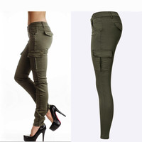 2016 New Styles Mid Waist Elasticity Women Stretch Pencil Jeans Fashion Double Side Pockets Army Green