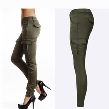 Hot Sexy Styles Mid Waist Elasticity Women Stretch Pencil Jeans Fashion Double Side Pockets Army Green