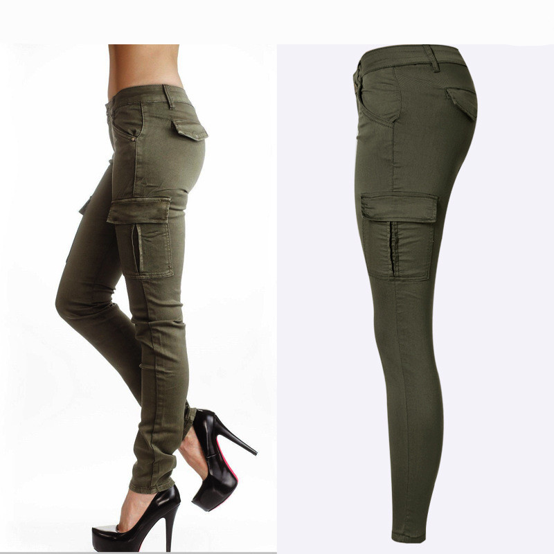 Hot Sexy Styles Mid Waist Elasticity Women Stretch Pencil <font><b>Jeans</b></font> Fashion Double Side Pockets Army <font><b>Green</b></font> Color Skinny <font><b>Jeans</b></font> Femme