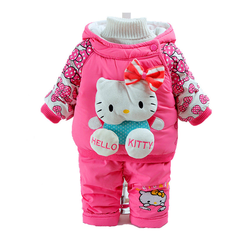 Quality Newborn Baby Girls Rompers Toddler Infant Hello Kitty Thick Warm Cotton-padded Coat Clothing Set Winter Clothes Suit 203 newborn baby girls rompers 100% cotton long sleeve angel wings leisure body suit clothing toddler jumpsuit infant boys clothes