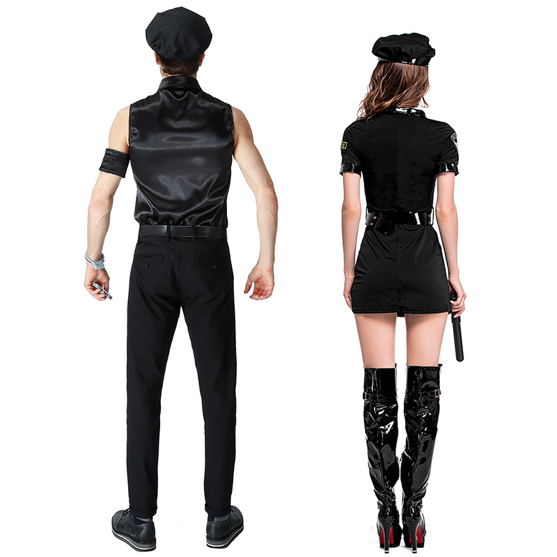 Image 5 - Women Man Cop Costume Halloween Party Black Policewomen Policeman Uniform Police Officer Cosplay Fancy Dress-in Sexy Costumes from Novelty & Special Use