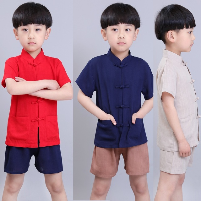 d84b8a6afa2a 2019 Baby Boy Kungfu Clothes Sets Chinese Style Children Tee Shirt ...