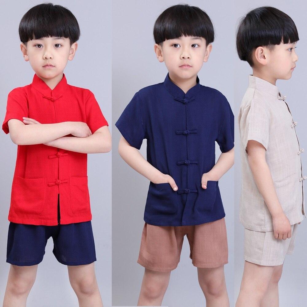 bb5abbb9f 2019 Baby Boy Roupas Kungfu Define Crianças Camiseta Calça Curta Terno Tang  das mulheres do Estilo Chinês de Linho Respirável Meninos Camisa Esporte  terno