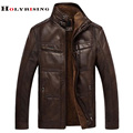men leather jacket  jaqueta de couro masculino fur coat middle-aged leather  PU jacket coat stand collar size male 4XL 2 color