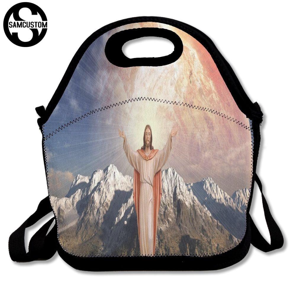 SAMCUSTOM jesus christianity Apparent Lunch Bags Insulated Waterproof Food Girl Packages men and women Kids Babys Boys Handbags