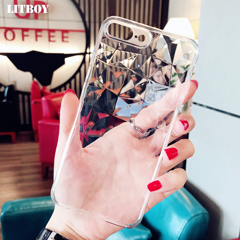 LITBOY Simple luxury Case For iPhone X Transparent Full Cover For iPhone 8 7 6 6s Plus 3D Texture Clear Silicone TPU Cases Coque
