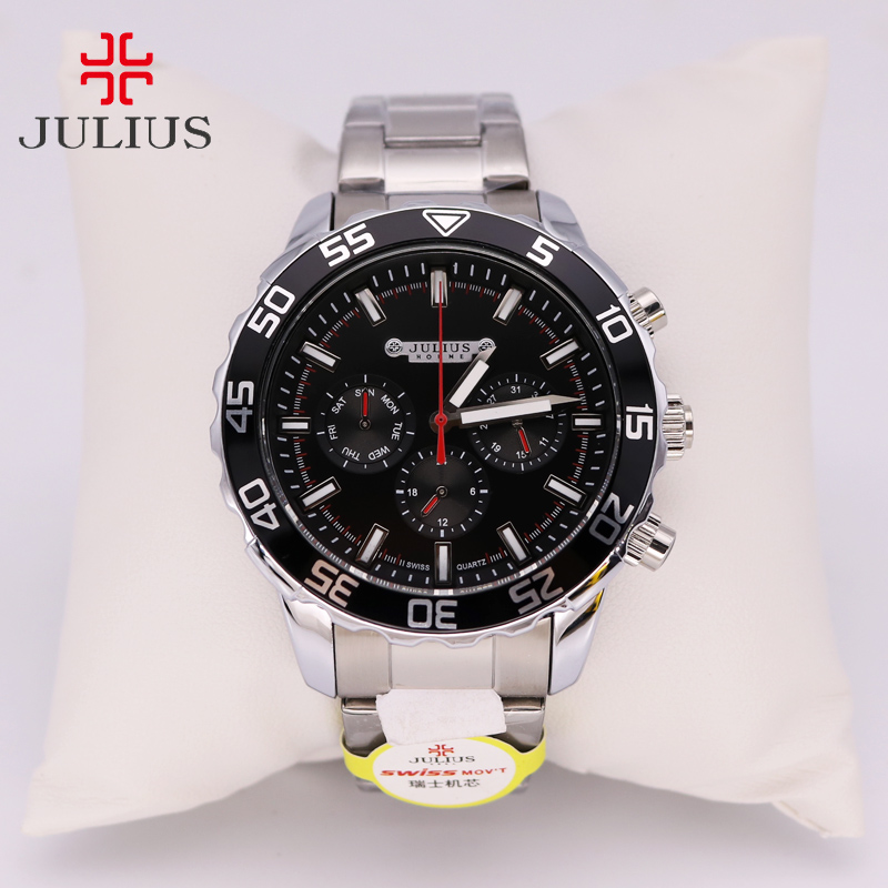 Real Functions Julius Men's Watch Hours ISA Mov't Business Dress Bracelet Stainless Steel Boy Birthday Christmas Gift real multi functions big men s watch japan mov t hours business top homme clock stainless steel boy s birthday gift julius box