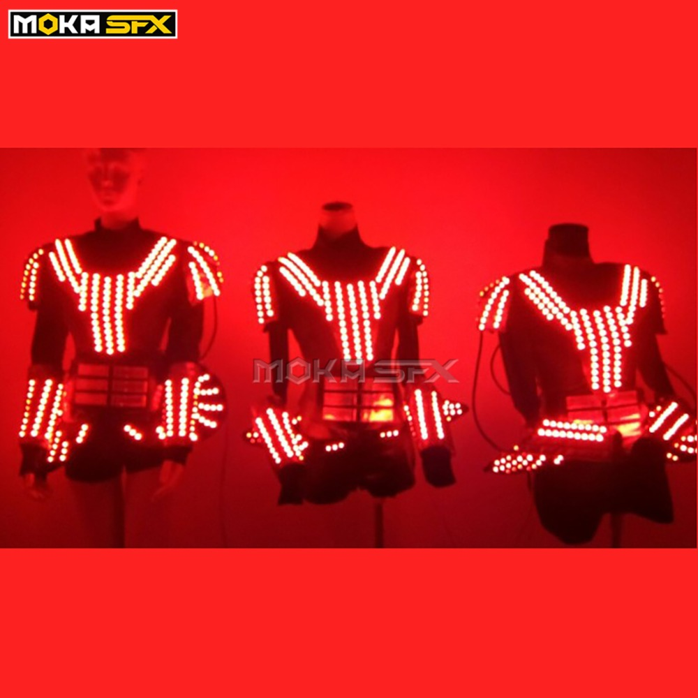 Christmas LED Costume LED Robot Suit Costume Women LED Luminous Clothing Dance Wear For Night Clubs Party KTV Supplies
