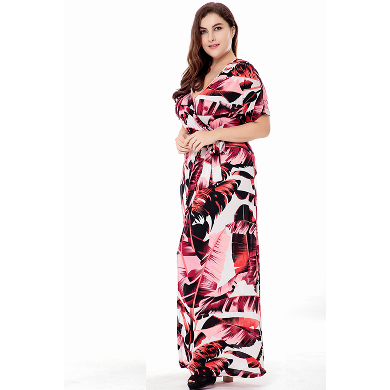 Plus size XL 6XL V neck Obese women Women s dress summer EU large size  Russia Tall woman obesity Ladies belt Open fork Dresses-in Dresses from  Women s ... 8c741d597806