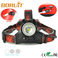 Boruit B13 LED Headlamp Rechargeable Zoomable Head Light Waterproof Torch Lights XM L2 Latest Version 2*18650 PCB Batteries red