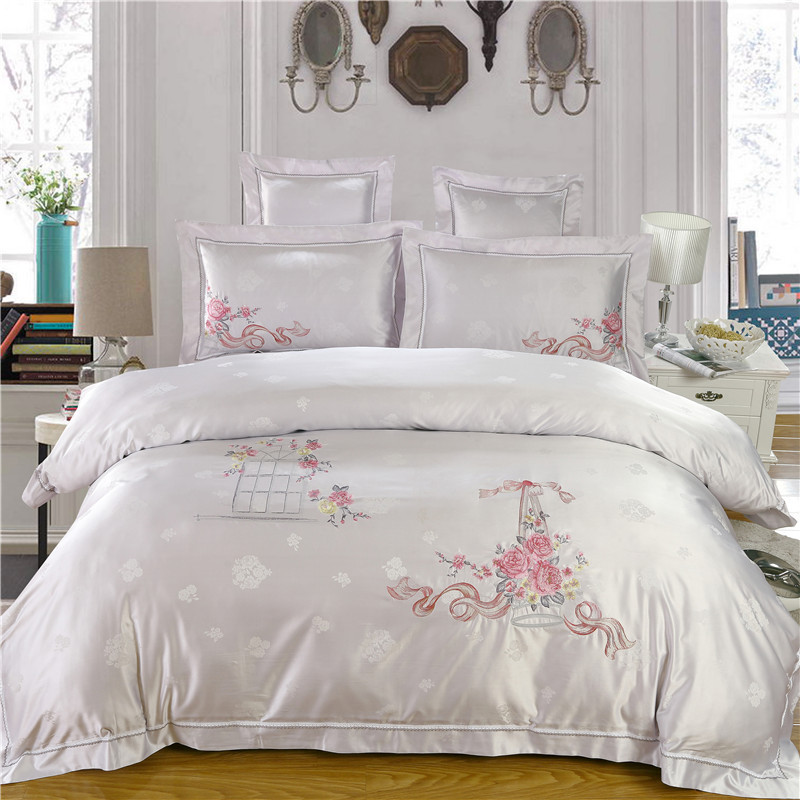 White Pink Red Tencel Embroidery Cotton Silk Bedding Set Luxury Satin Duvet Cover King Queen Bedclothes Bed Linen 16 Design 4 6p In Sets From Home