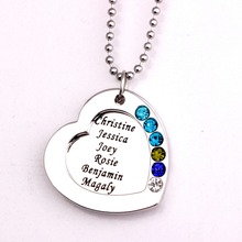 Family Heart Pendant Necklace with Birthstones 2016 Long Necklaces Jewelry Custom Made Any Name YP2545