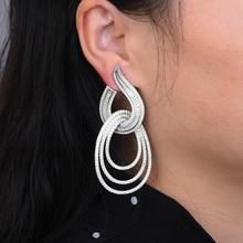 GODKI Luxe Water Drop Lange Dangle Oorbellen Voor Vrouwen Wedding Kubieke Zirkoon Crystal CZ Dubai Bridal Earring Mode sieraden 2019