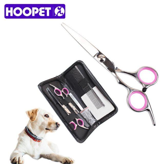 Hoopet 8pcs/Set Pet Dog Cat Hair Trimmer Remover Shedding Grooming Scissors Stainless Steel Pet Grooming Set Shears Kit