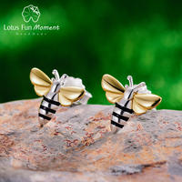b253f7cae1e1 Lotus Fun Moment Real 925 Sterling Silver Vintage Cute Fashion Jewelry  Lovely Honey Bee Stud Earrings