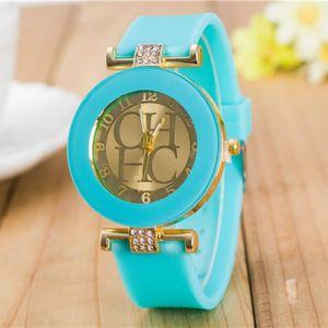 Image 5 - 2018 Nieuwe Eenvoudige Leer Merk Genève Casual Quartz Horloge Vrouwen Crystal Silicone Horloges Relogio Feminino Polshorloge Hot Koop