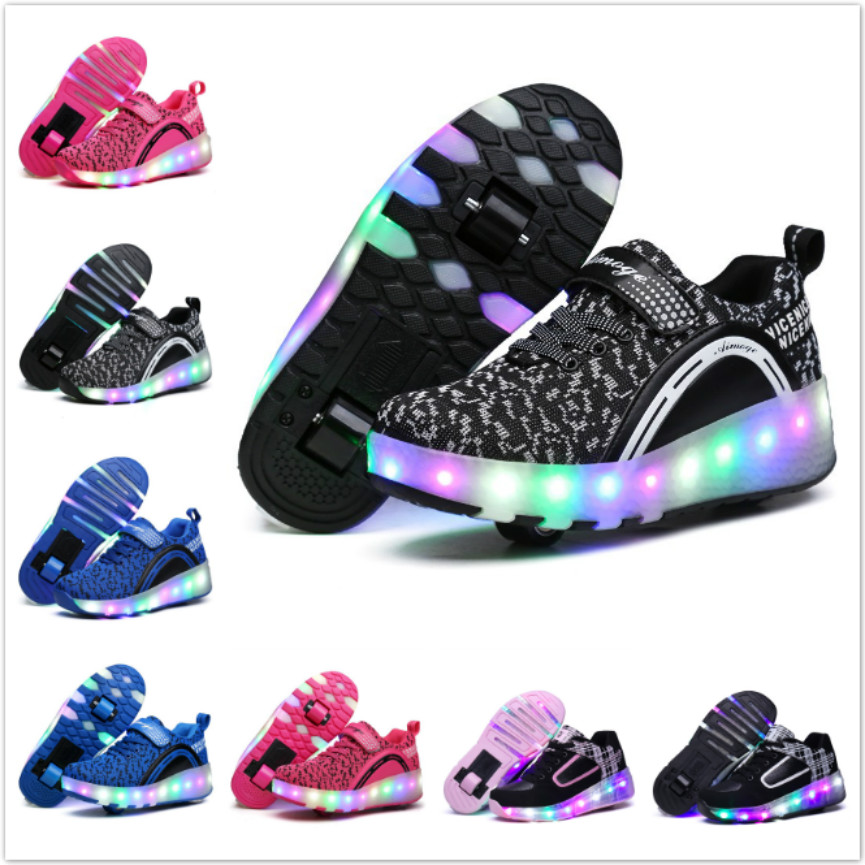 27d5f3bae New Children Sports Casual Shoes With LED Lamp Flashing Light Kids Shoe  Roller Skate Glowing Luminous Junior Boys Girls Sneakers