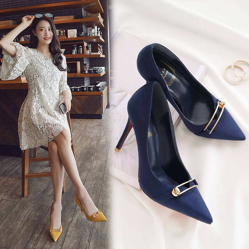 Pointed high heels female fine with medium and wild shoes sexy black womens shoes 2018 n ...