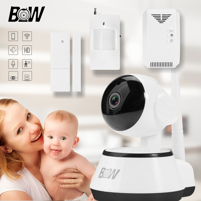 BW Onvif 720P HD Wireless CCTV IP Wifi Video Surveillance Security Camera P2P with Infrared Monitor & Door Sensor + Gas Detector bw p2p cctv ip camera wifi wireless hd 720p onvif rotatable surveillance security camera cctv automatic sensor detector alarm