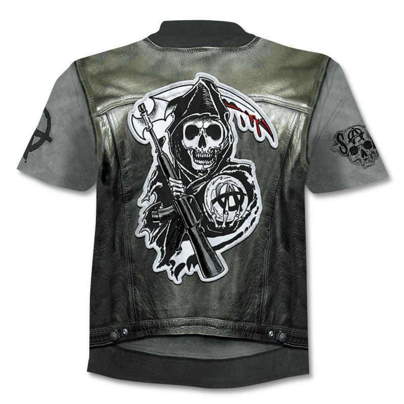 2019 череп футболка мужская хип-хоп улица готические рубашки Панк 3d футболка с коротким рукавом забавная езда мотоцикл принт футболка